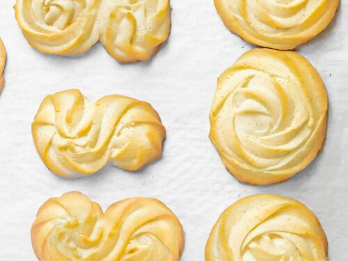 butter cookies baked on parchment paper