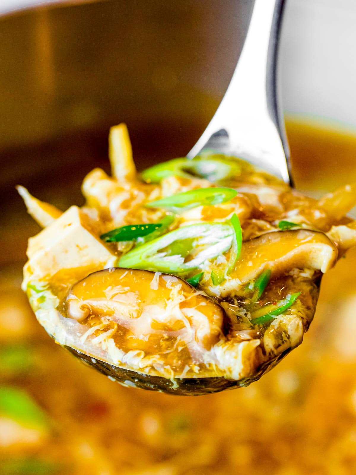 a ladle of vegetarian hot and sour soup with mushrooms, tofu, and scallions