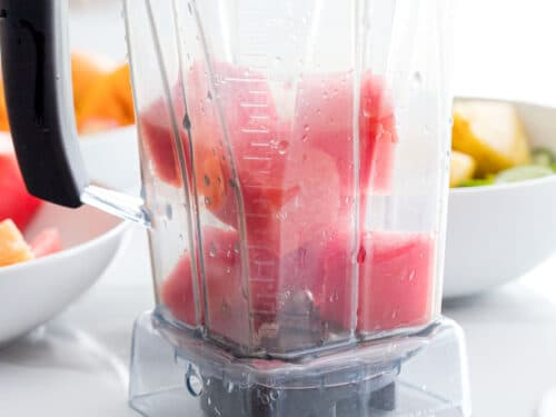 watermelon pieces in a blender
