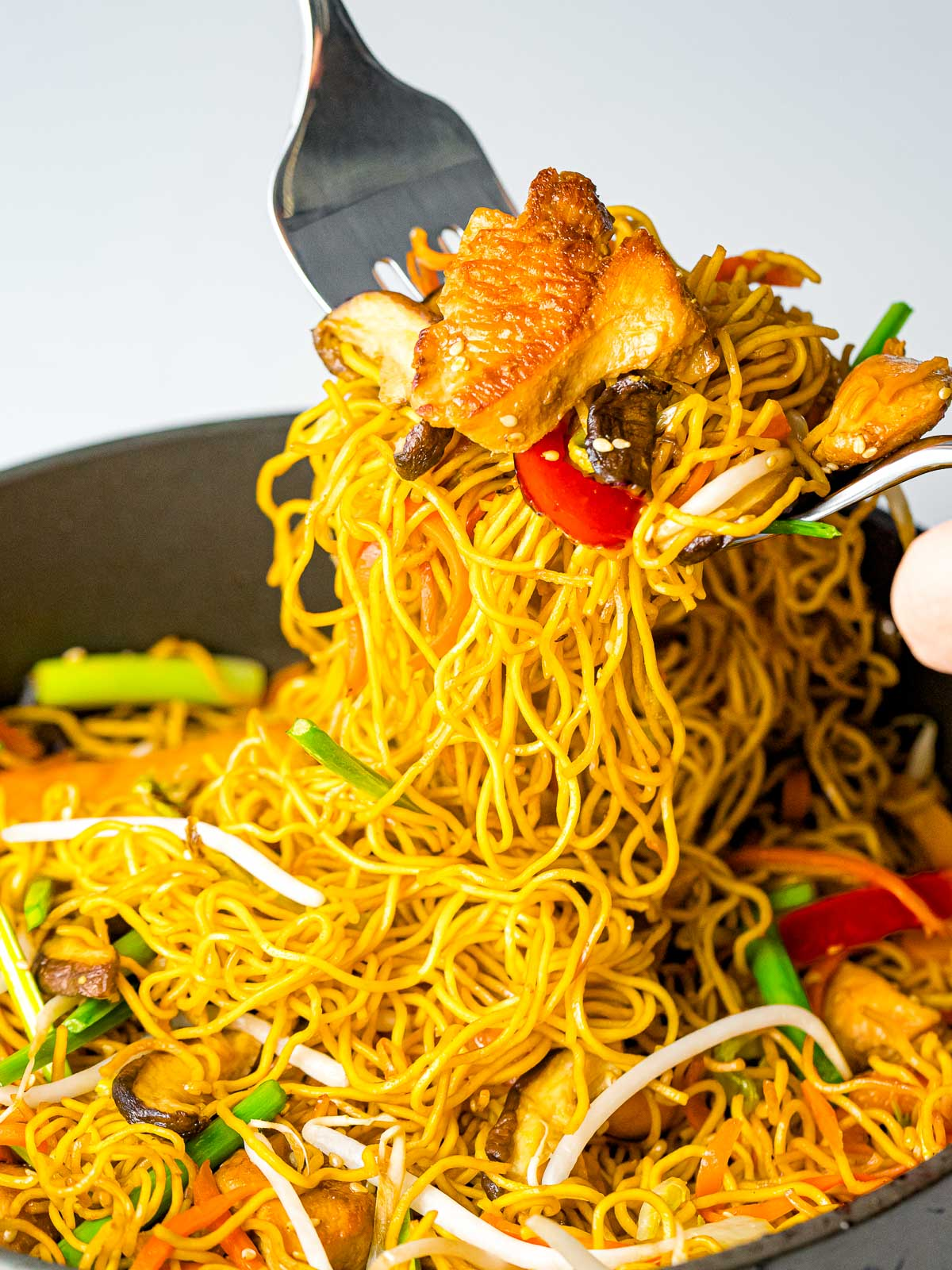 Chinese chow mein noodles with chicken and vegetables being served out of the pan