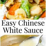 Easy Chinese White Sauce with close up of the sauce dripping off a spoon