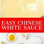easy Chinese white sauce dripping off a spoon