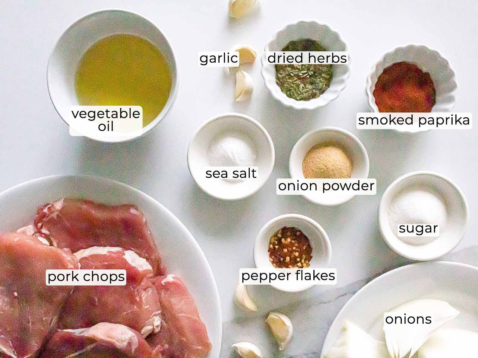 ingredients for grilled pork chop marinade