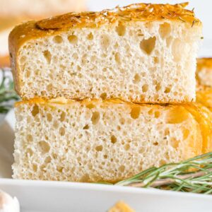 close up of sourdough focaccia bread with rosemary parmesan crust