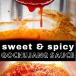 sweet & spicy gochujang sauce dripping off a spoon
