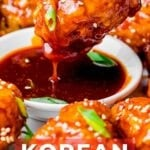 Korean fried chicken dipped into a sweet and spicy sauce