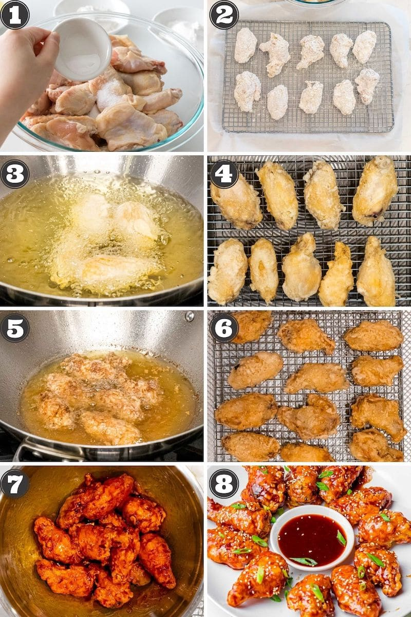collage of photos with numbered steps for making Korean fried chicken