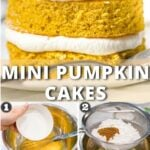 photo of mini pumpkin cakes with text overlay