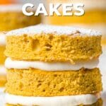 pumpkin sponge cake text overlayed on top of image