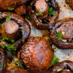 oven roasted mushrooms text overlayed on top of photo