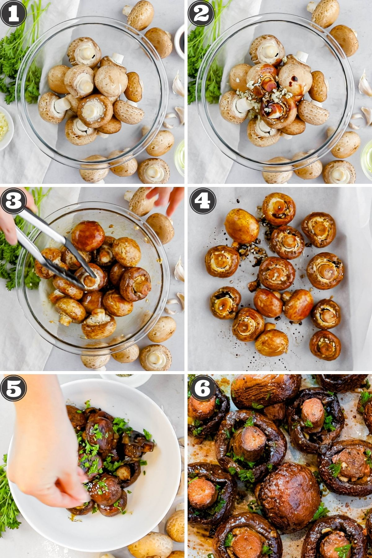 numbered step by step photos for roasted mushrooms