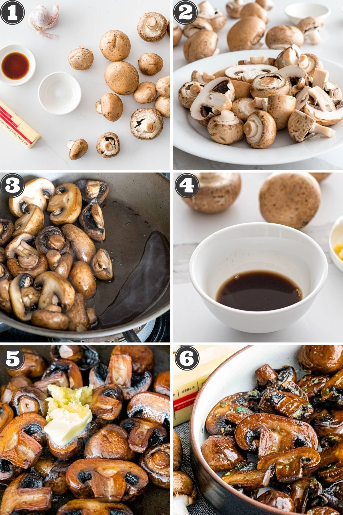photos with numbered steps for how to make sauteed mushrooms