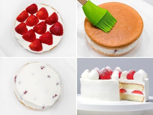 grid photos of assembling strawberry sponge cake with whipped cream