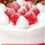 Japanese Christmas cake decorated with fresh strawberries and whipped cream next to ornaments and pine cones