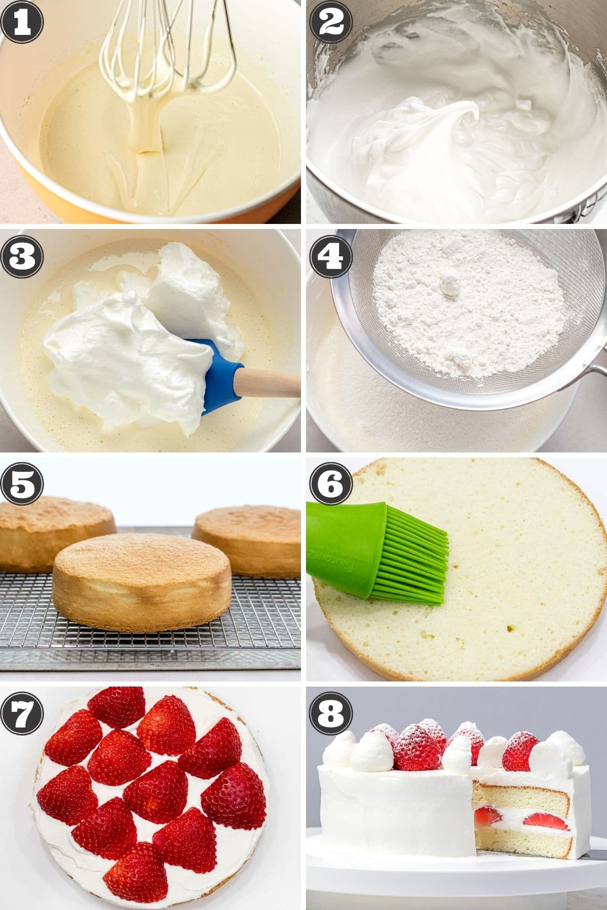 numbered step by step photos for how to make Japanese strawberry shortcake