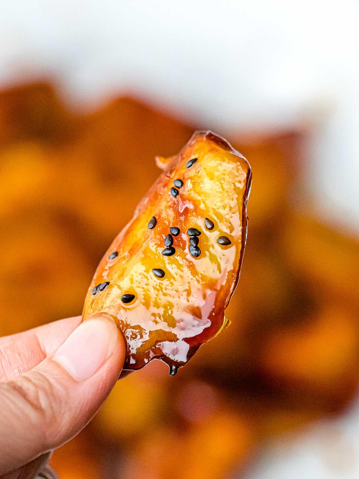 close up of Japanese candied sweet potato, Daigaku Imo