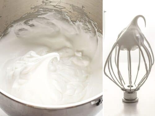 side by side photos of egg whites beaten to firm peaks in a metal bowl and on a whisk