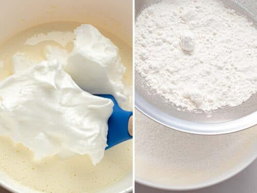 side by side photos of beaten egg whites being added to sponge cake batter and cake flour sifted into batter