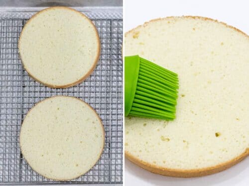 fluffy sponge cake sliced into layers being brushed with sugar syrup