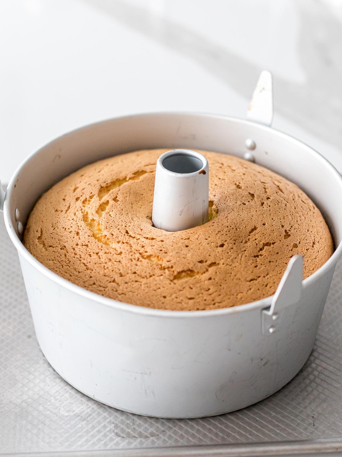 Japanese chiffon cake baked in a chiffon cake pan