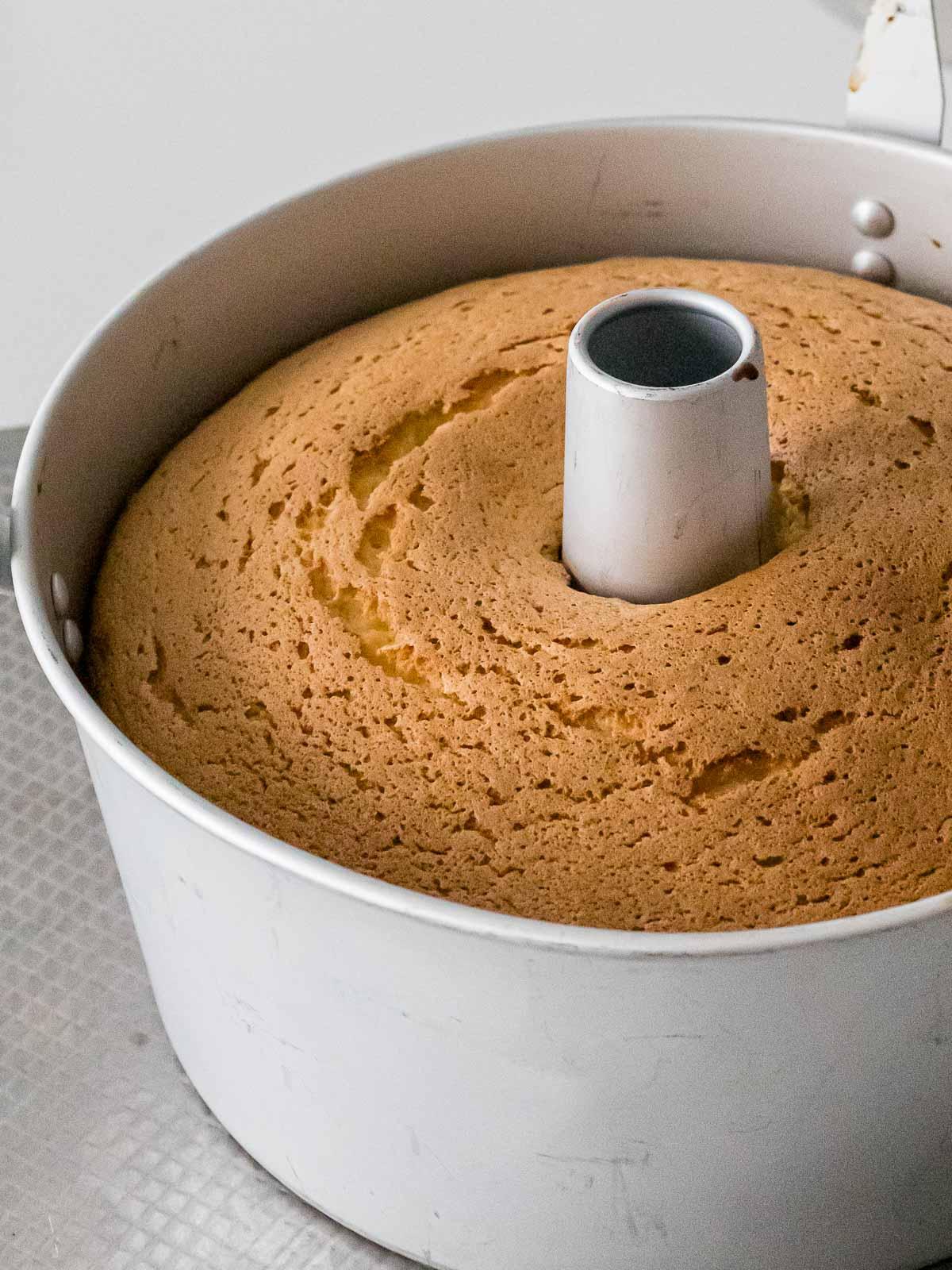 fluffy vanilla chiffon cake in a chiffon cake pan