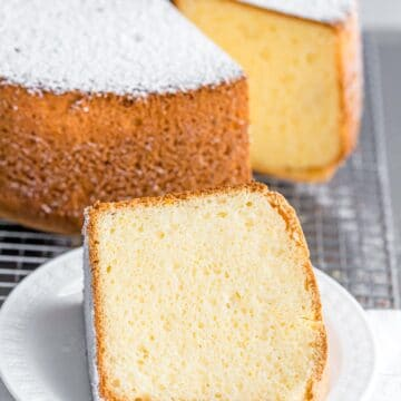 a slice of fluffy vanilla chiffon cake