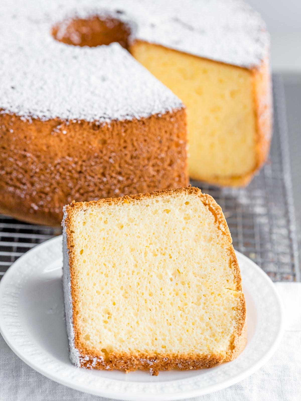 a slice of fluffy vanilla chiffon cake