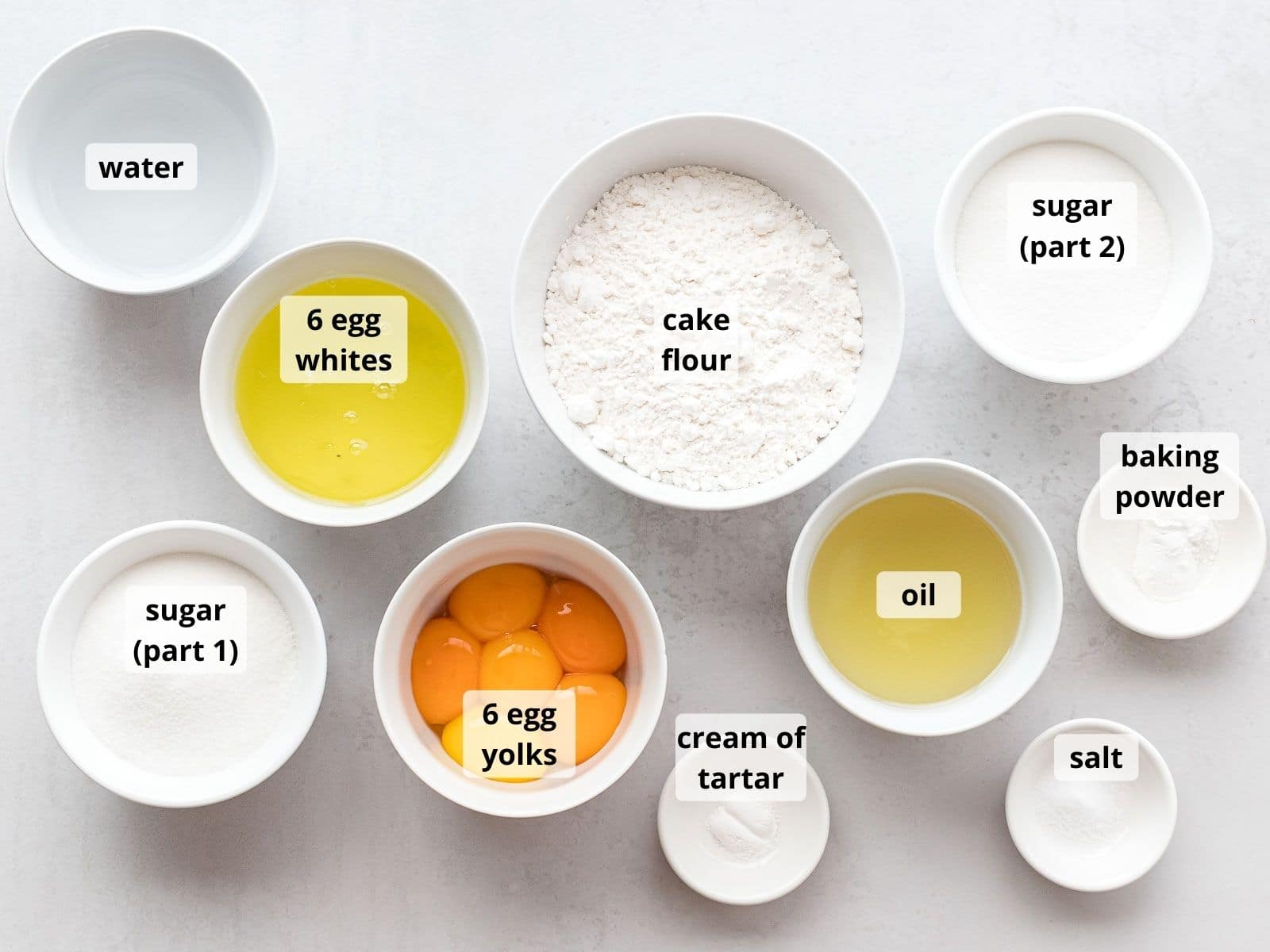 labeled photo of ingredients for chiffon cake in small white bowls