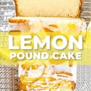 Lemon pound cake with glaze drizzled on top in a photo collage with text overlay