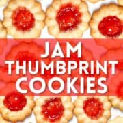 Photo collage of jam thumbprint cookies with text overlay.