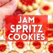 Photo collage of jam spritz cookies with text overlay.