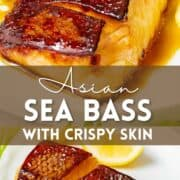 Asian sea bass with teriyaki marinade with crispy skin on a white plate with text overlay.