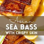 Collage of Asian sea bass with teriyaki sauce with text overlay.