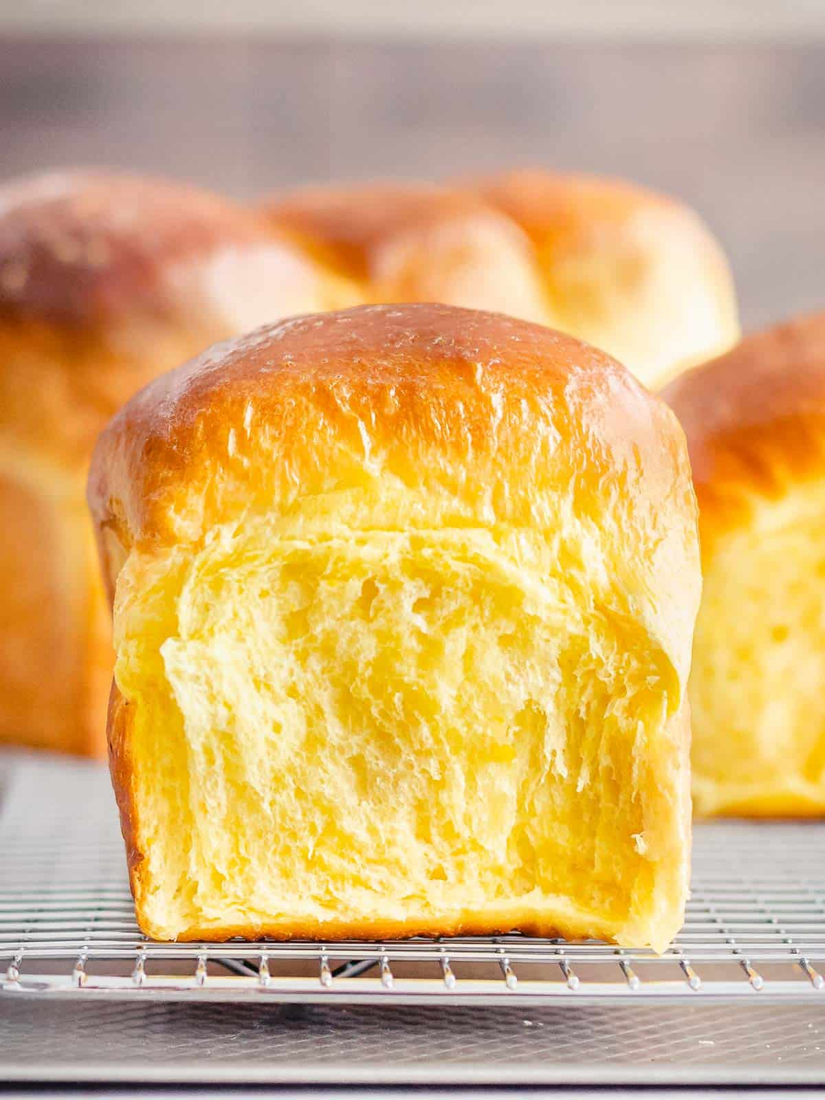 Soft and fluffy pull apart sourdough rolls made with mashed pumpkin with a golden brown crust and yellow crumb.