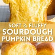 Photo collage of soft and fluffy sourdough pumpkin bread with text overlay