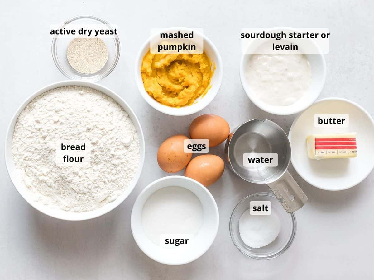 Ingredients for pumpkin sourdough bread with text labels overlayed