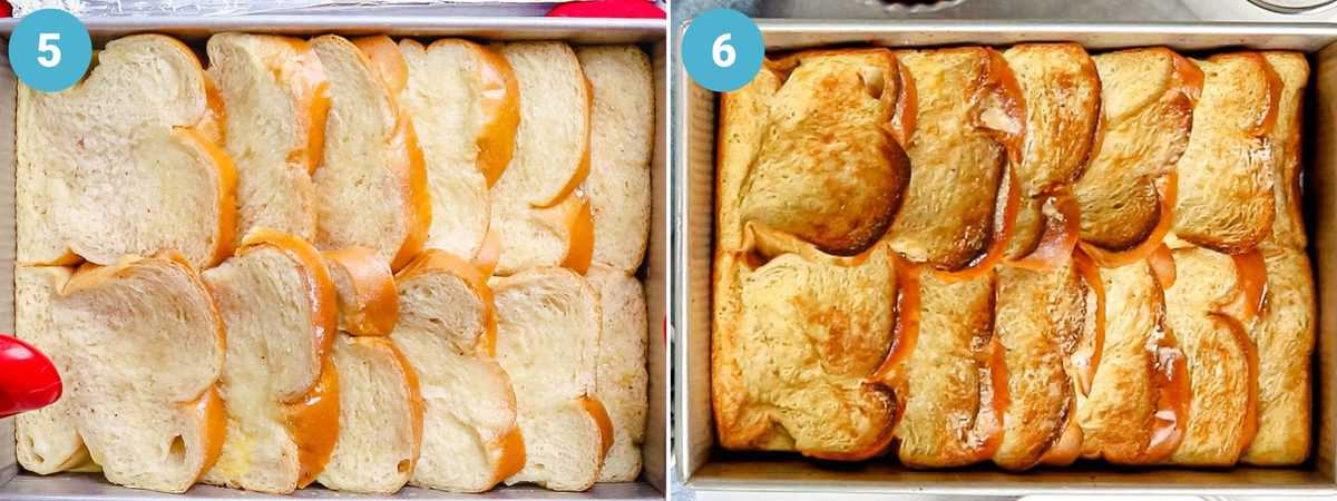 Photo collage showing golden brown, crunchy crust of French toast in a baking dish.