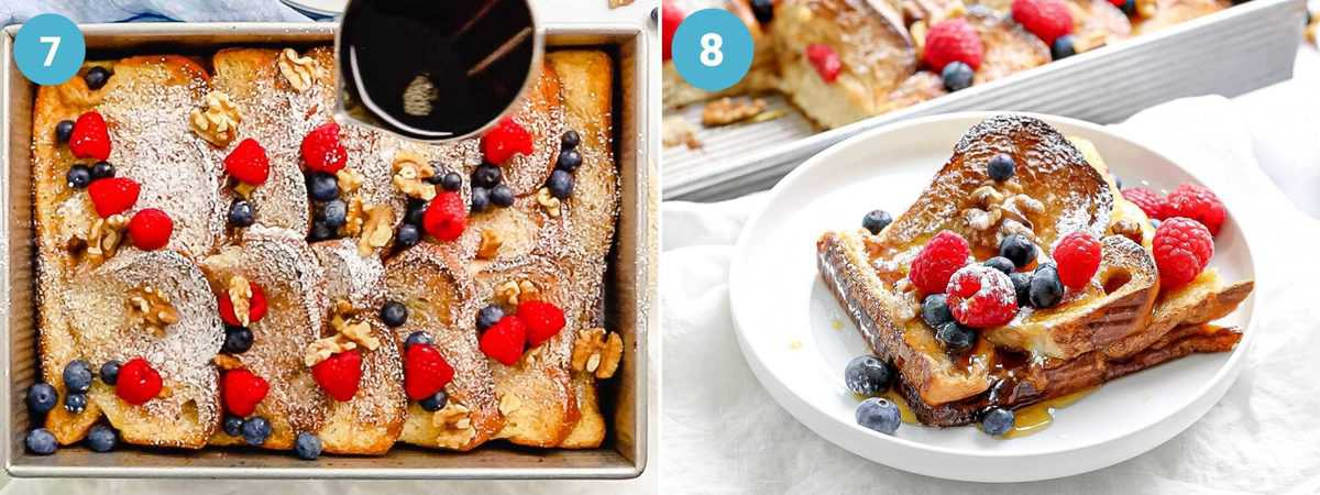 Photo collage of baked French toast topped with berries and maple syrup on a white plate.