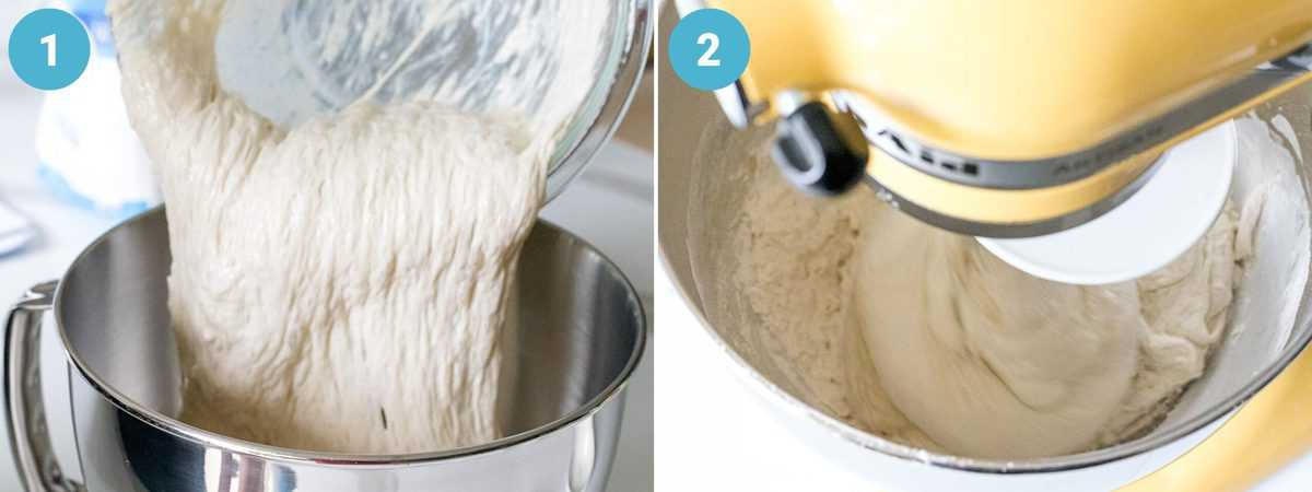 Sourdough starter and poolish being added to a large mixing bowl attached to a stand mixer with other ingredients to develop gluten.