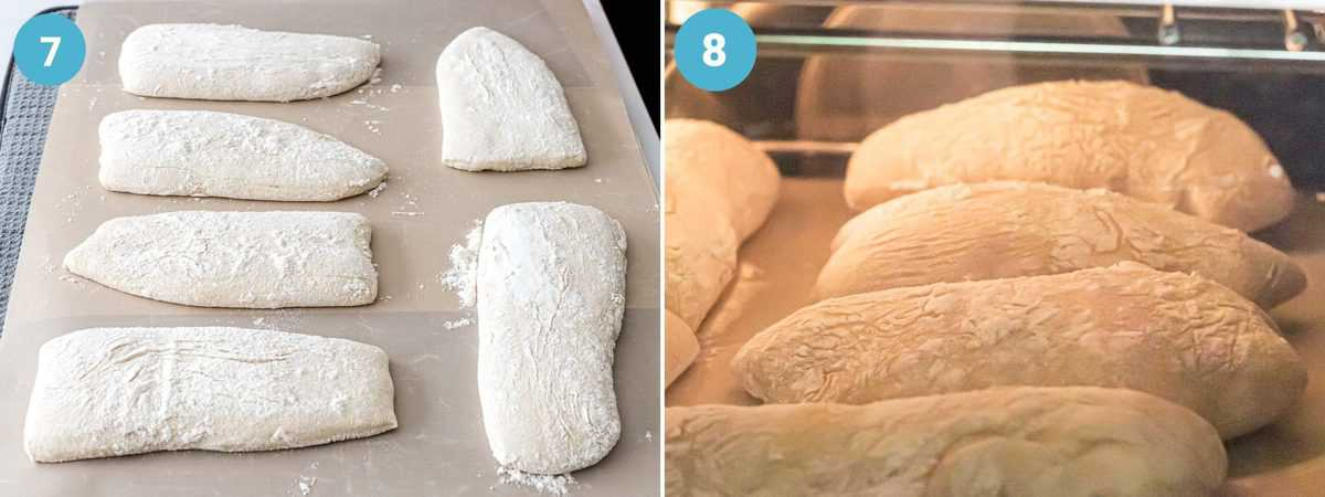 Ciabatta dough cut into pieces and baking in an oven on silicone paper.