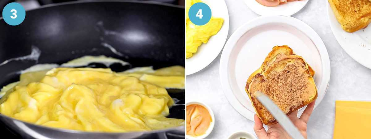 Numbered photo collage showing scrambled eggs in a pan and buttered toast.