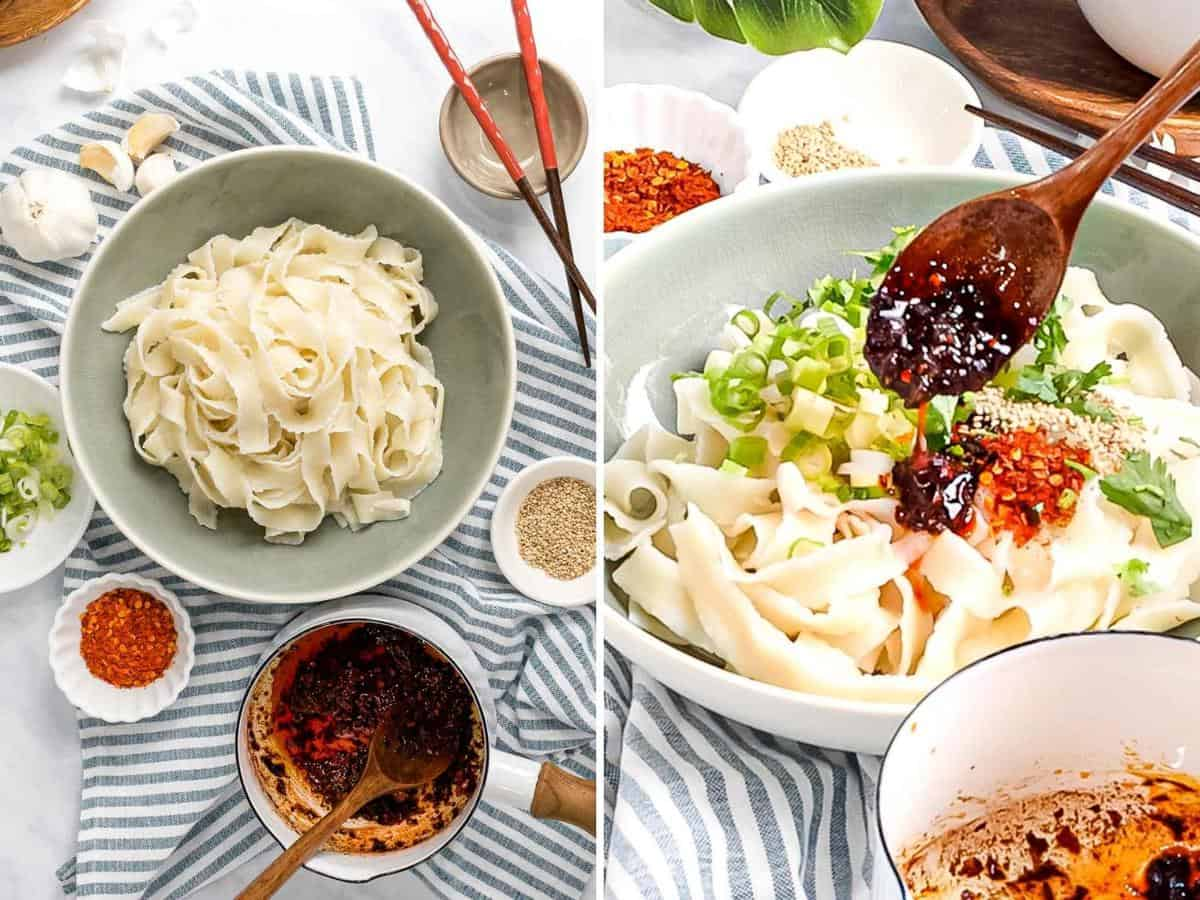 Photo collage of Szechuan garlic chili oil noodles with scallions and extra chili pepper flakes in a bowl.