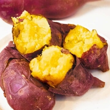 Korean sweet potatoes baked until soft and fluffy with crispy purple skin.