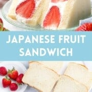Japanese fruit sandwich photo collage of strawberry sando filled with cream .