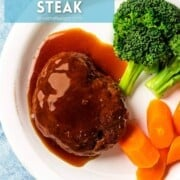Japanese hamburger steak with sauce next to broccoli and carrots with a text overlay.