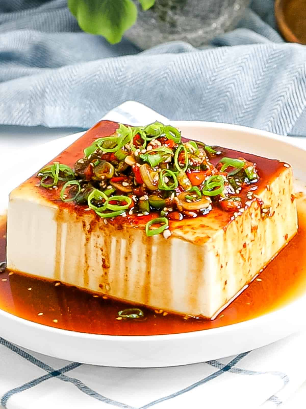 Silken tofu with Korean soy sauce made with green onions, red pepper flakes, sesame seeds poured on top.