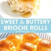 Sweet and buttery brioche rolls being drizzled with honey.
