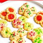 Christmas spritz cookies with red and green sprinkles.