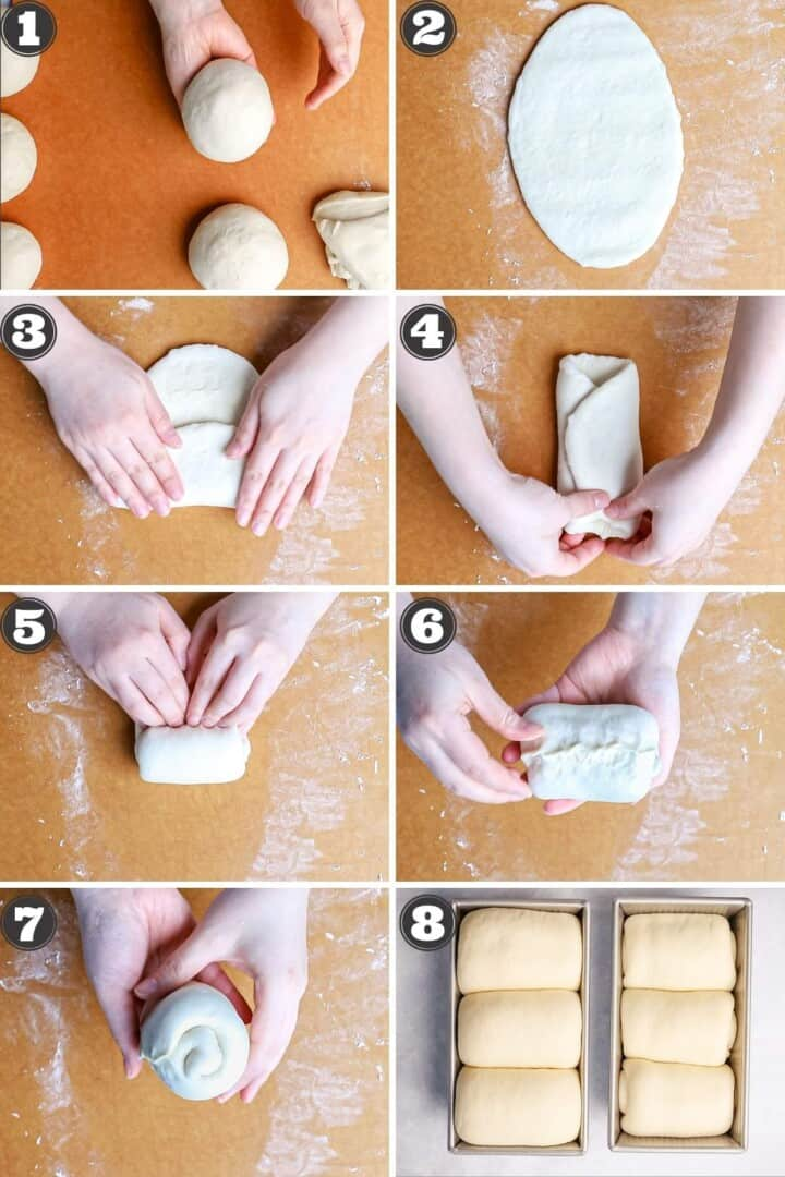 Step by step photos showing how to make milk bread with numbered steps.