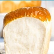 Soft and fluffy Japanese milk bread with text overlay.